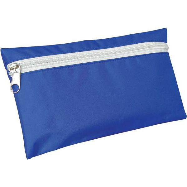 Promotional Nylon Pencil Case in Royal Blue with White zip